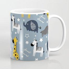 Sweet dreams little one zoo animals cute pattern blue Coffee Mug