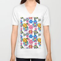 glitter V-neck T-shirts featuring Glitter Garden by naturessol