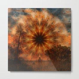 Surreal landscape in corrugated iron mandala Metal Print