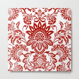 Damask in red Metal Print