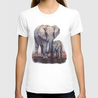 novelty T-shirts featuring Elephants Mom Baby by Moody Muse