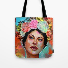 Flower Rainbow Girl in Mixed Media Tote Bag