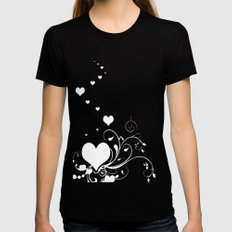 White Valentine Hearts On Red Background LARGE Womens Fitted Tee Black