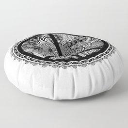 Zen Doodle Peace Symbol Black And White Floor Pillow