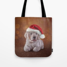 Drawing puppy breed Golden Retriever in red hat of Santa Claus Tote Bag