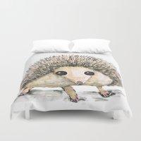 hedgehog Duvet Covers featuring Hedgehog by Bwiselizzy