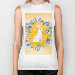 White Rabbit in Blue Flowers Biker Tank