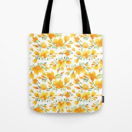 Watercolor california poppies bouquet Tote Bag