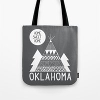 oklahoma Tote Bags featuring Oklahoma by Ashley Love