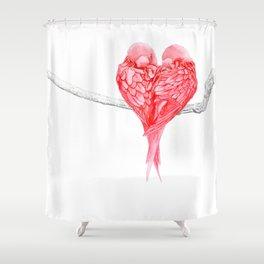 Red Heart Birds Love Shower Curtain