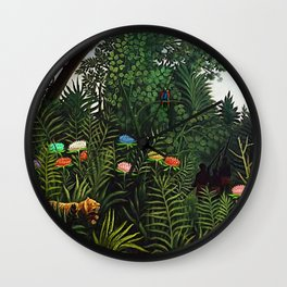 Jungle with Tiger and Hunters by Henri Rousseau Wall Clock