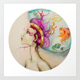 Fishes in my head Art Print