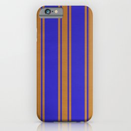 Orange lines on a blue background iPhone Case