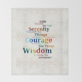 Colorful Serenity Prayer by Sharon Cummings Throw Blanket