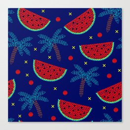 Tropical mosaic design on blue Canvas Print