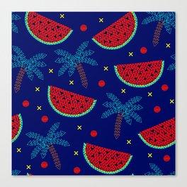 Tropical mosaic design on blue Canvas Print