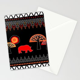 African Rhino (Hot colors) - by Kara Peters Stationery Cards