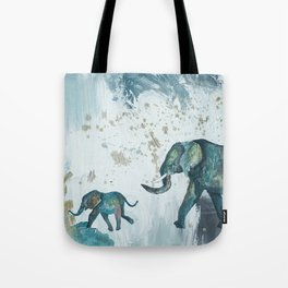Follow me baby elephant Tote Bag