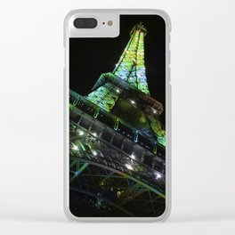 Eiffel Tower at Night with Coloured Lights Clear iPhone Case