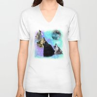 coven V-neck T-shirts featuring Wolves Coven Emeral night 2 by Jamie Fontaine
