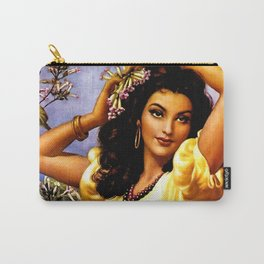 Mexican Beauty with Purple Flower by Jesus Helguera Carry-All Pouch