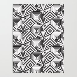Black and white Geometric design Poster
