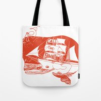 moby dick Tote Bags featuring Moby Dick by Paul McCreery