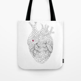 heart map Tote Bag