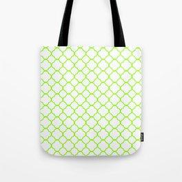 Green, Lime: Quatrefoil Clover Pattern Tote Bag