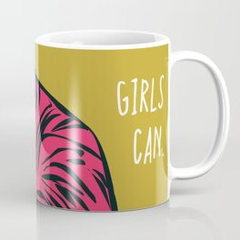 Girls Can. Pink Tiger Coffee Mug