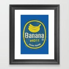 Banana Sticker On Blue Framed Art Print