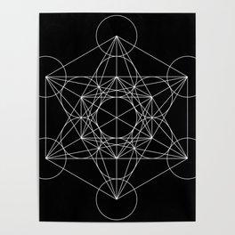 Metatron's Cube Black & White Poster