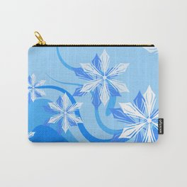 Winter Flower Blue Carry-All Pouch