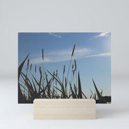 Green reeds large leaves Mini Art Print