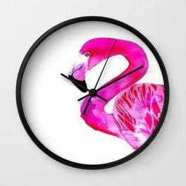 Pink Watercolor Flamingo Tropical Sunset Beach  Wall Clock