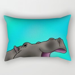 Happy Hippo with Blue Backing Rectangular Pillow