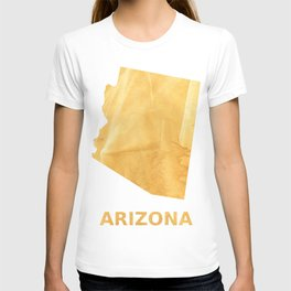 Arizona map outline Sunny yellow watercolor T-shirt