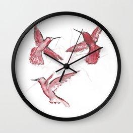 Red Humming-bird watercolor / Colibri rouge à l'aquarelle Wall Clock