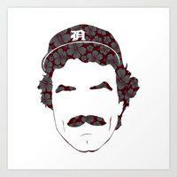 tom selleck Art Prints featuring Great Mustaches - Selleck by Luke Woody