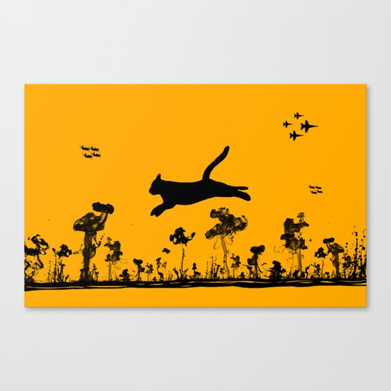 The Cat and Ink drop bombs Canvas Print