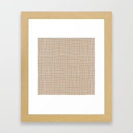 White and Brown Weave Pattern Framed Art Print