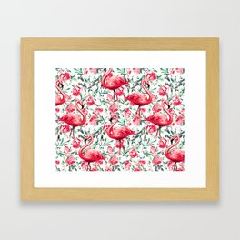 Flowers and Flamingos Framed Art Print