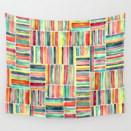 Retro Beach Chair Bright Watercolor Stripes on White Wall Tapestry
