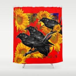 THREE CROWS & SUNFLOWERS GARDEN RED ART Shower Curtain