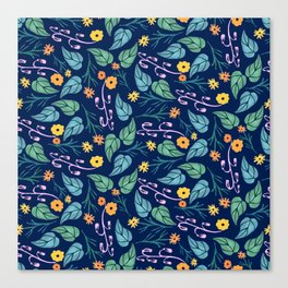 Watercolour dark blue seamless pattern background with whimsical flowers. Canvas Print