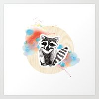 raccoon Art Prints featuring Raccoon by Wood + Ink