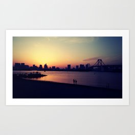 Odaiba Sunset Art Print