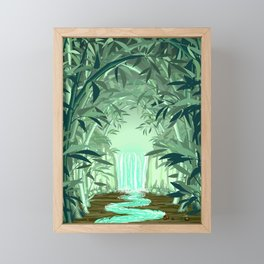 Fluorescent Waterfall on Surreal Bamboo Forest Framed Mini Art Print