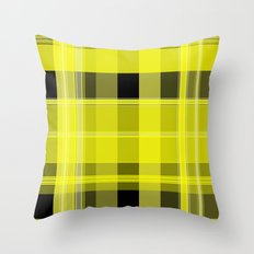 Yellow and Black Plaid Throw Pillow