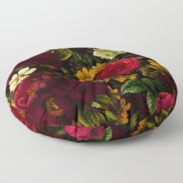 Dutch Midnight Vintage Red Roses Garden Floor Pillow